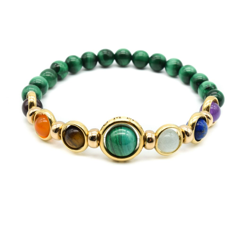 Malachite and Gold chakra bracelet, gift for men, men's bracelet, men's jewellery, designer bracelet, OMMO London | UK, luxury chakra bracelet, gold bracelet for women, present for her, healing crystal bracelet, unique bracelet
