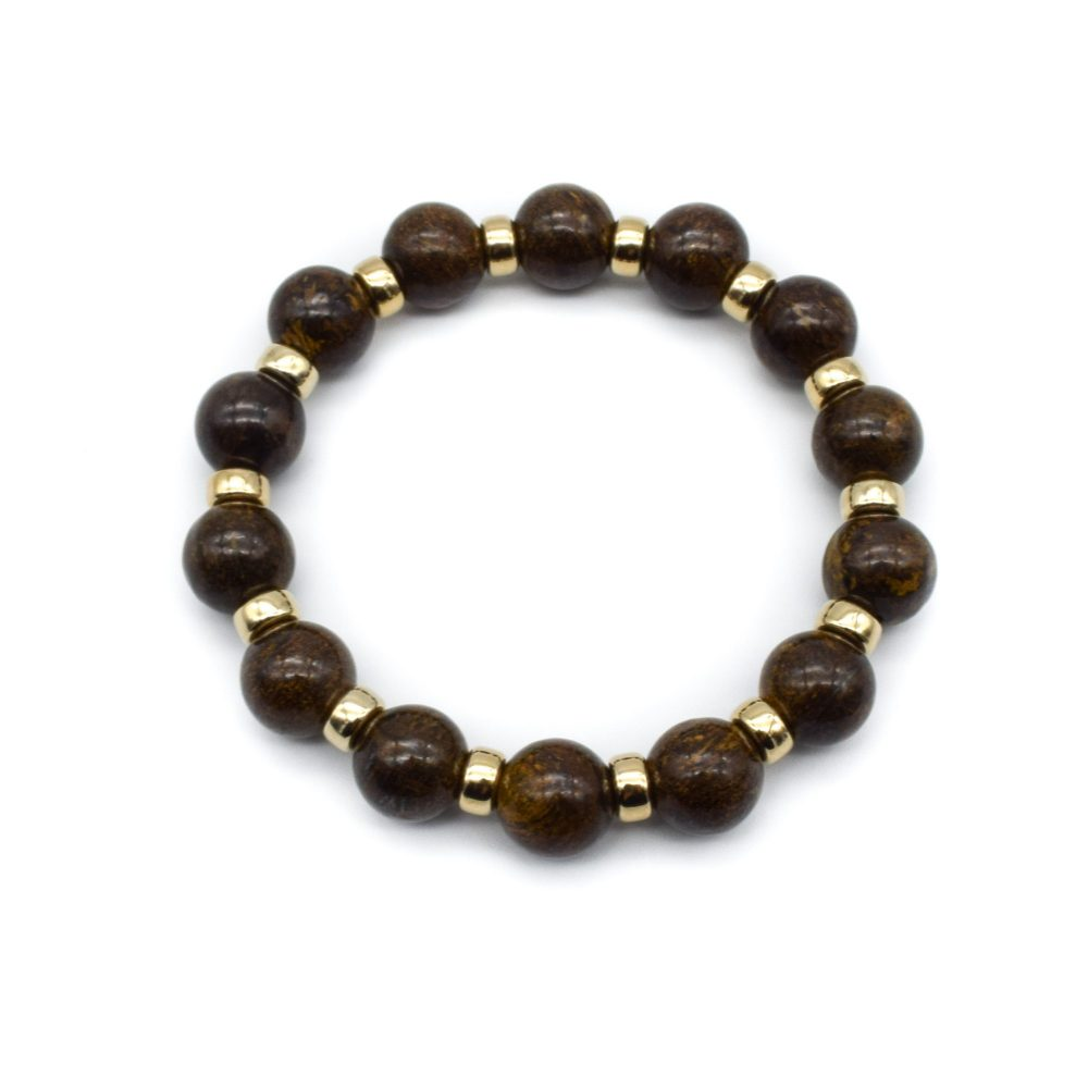 Bronzite and gold bracelet, brown bracelet, bronzite beaded bracelet, bronzite jewellery