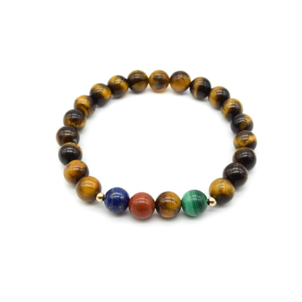 Tiger's Eye and Gold Beaded Bracelet, tigers eye bracelet, luxury bracelet, designer bracelet, mens beaded bracelet, malachite bracelet, lapis lazuli bracelet, stretch bracelet, healing bracelet, chakra bracelet