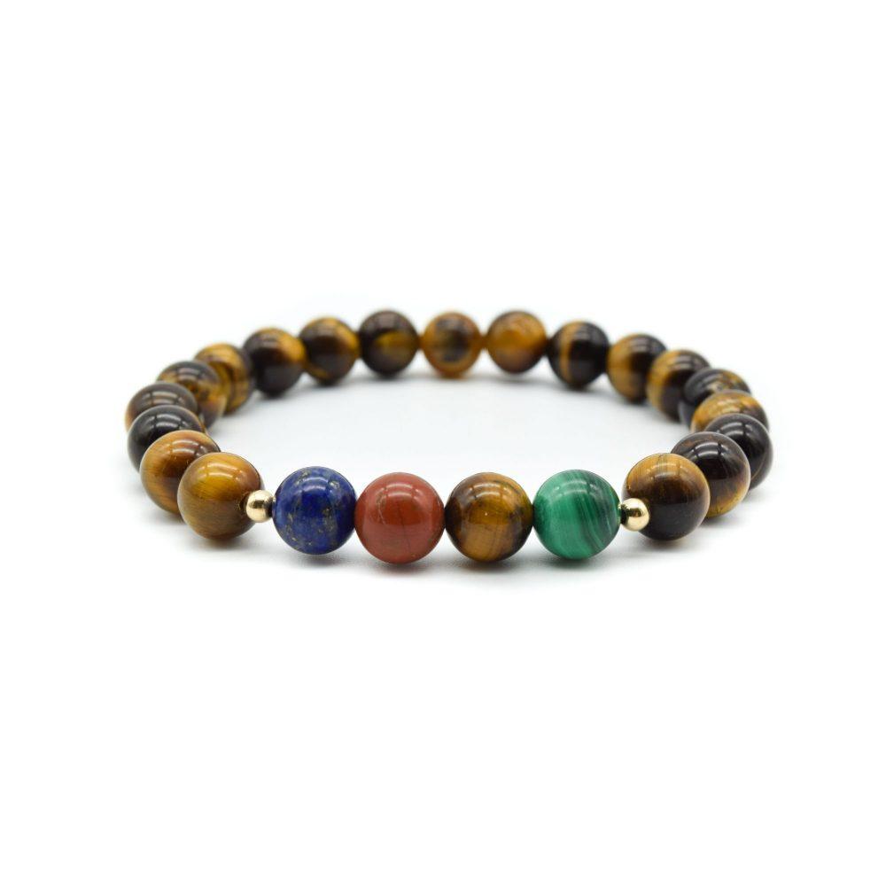 Tiger's Eye and Gold Beaded Bracelet, tigers eye bracelet, luxury bracelet, designer bracelet, mens beaded bracelet, malachite bracelet, lapis lazuli bracelet, stretch bracelet, healing bracelet, chakra bracelet