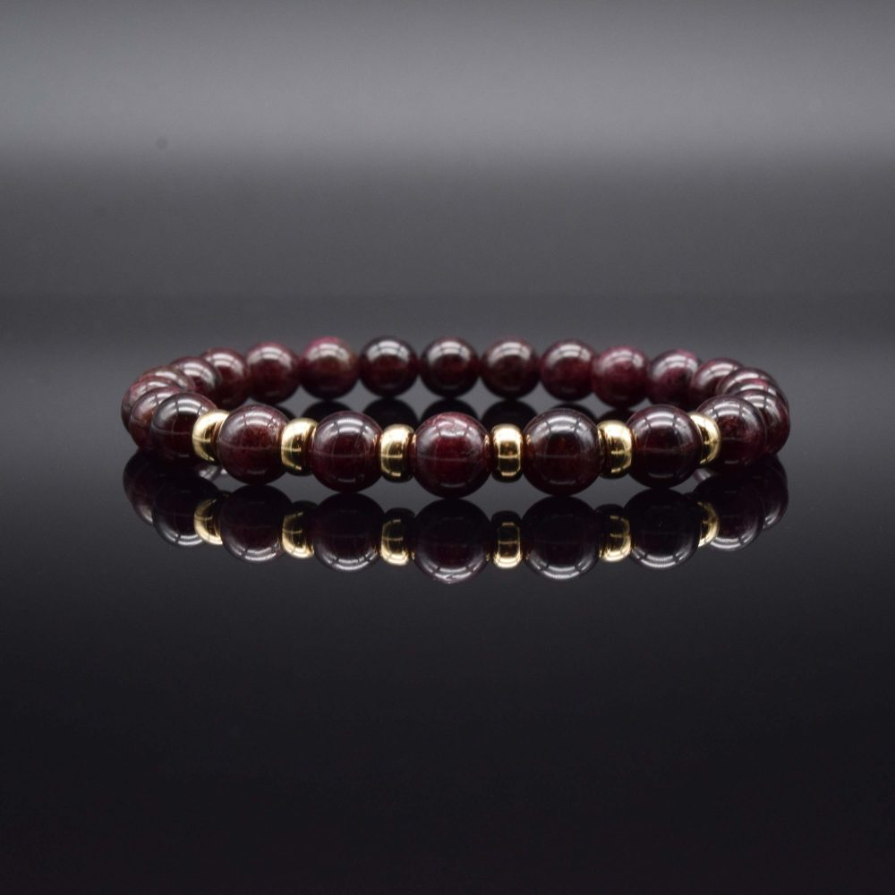 Luxury Garnet and Gold beaded Bracelet, garnet and gold jewellery, garnet bracelet, garnet beaded bracelet, garnet jewellery, designer bracelet, mens bracelet uk