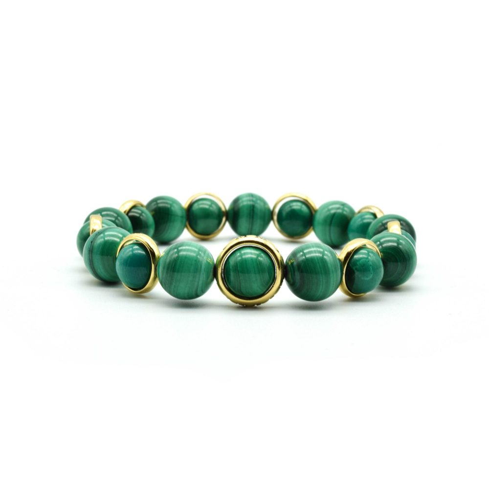 Malachite and Gold chakra bracelet, gift for men, men's bracelet, men's jewellery, designer bracelet, OMMO London | UK, gold bracelet for men, present for her, healing crystal bracelet, unique bracelet