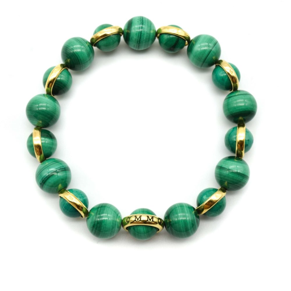 Malachite and solid Gold bracelet, gift for men, men's bracelet, men's jewellery, designer bracelet, OMMO London | UK, luxury chakra bracelet, gold bracelet for women, present for her, healing crystal bracelet, unique bracelet