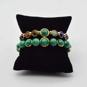 Malachite and Gold chakra bracelet, gift for men, men's bracelet, men's jewellery, designer bracelet, OMMO London | UK, luxury chakra bracelet, gold bracelet for women, present for her, healing crystal bracelet, unique bracelet, mens beaded bracelets uk