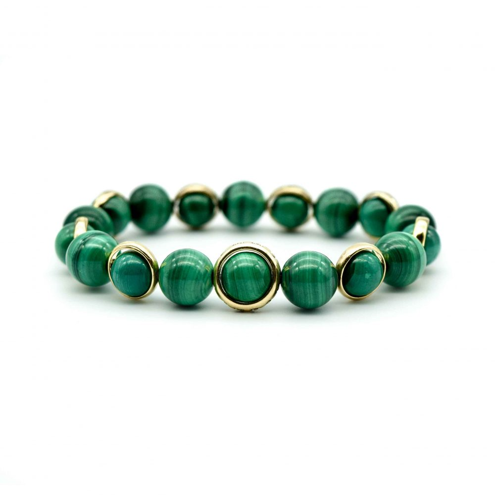 malachite bracelet, malachite and gold bracelet, green bracelet, healing bracelet, luxury jewellery, mens designer bracelets, luxury bracelets, beaded bracelets uk