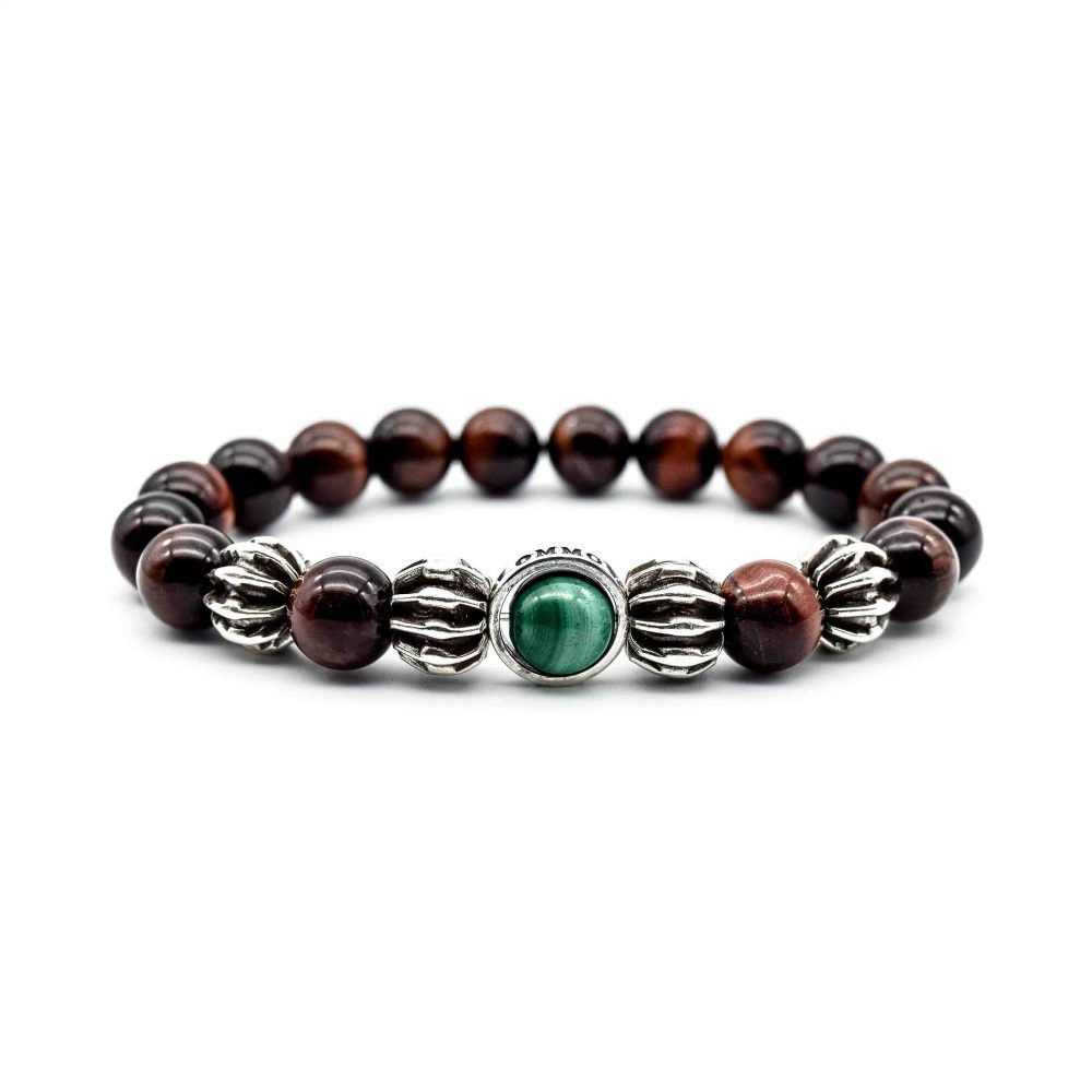 red tigers eye bracelet, red tigers eye jewellery, red tigers eye and silver bracelet, ommo london, elan bracelet, mens designer bracelets, luxury bracelets, beaded bracelets uk