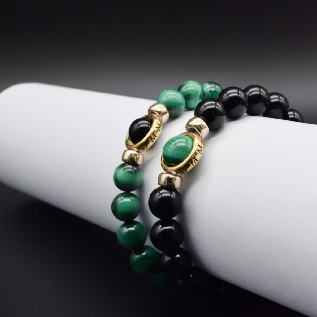 his and hers bracelets, matching bracelets, couple bracelets, malachite bracelets, onyx bracelets, valentines gift ideas, valentines gift for her, valentines gift for him