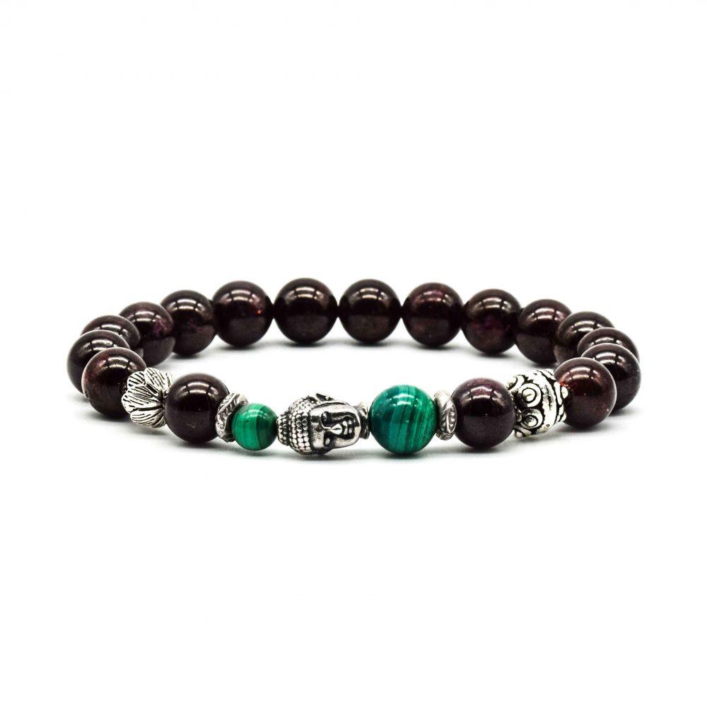 Garnet Buddha Bracelet, silver buddha bracelet, 925 buddha bracelet, designer garnet bracelet, spiritual bracelet