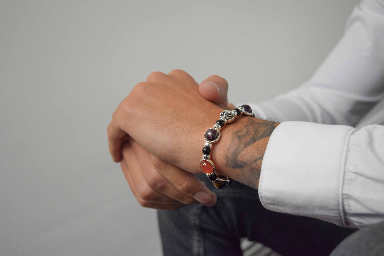 spiritual bracelets, buddha bracelets for men, lotus bracelet, obsidian bracelet, lapis lazuli bracelet, silver lotus bracelet