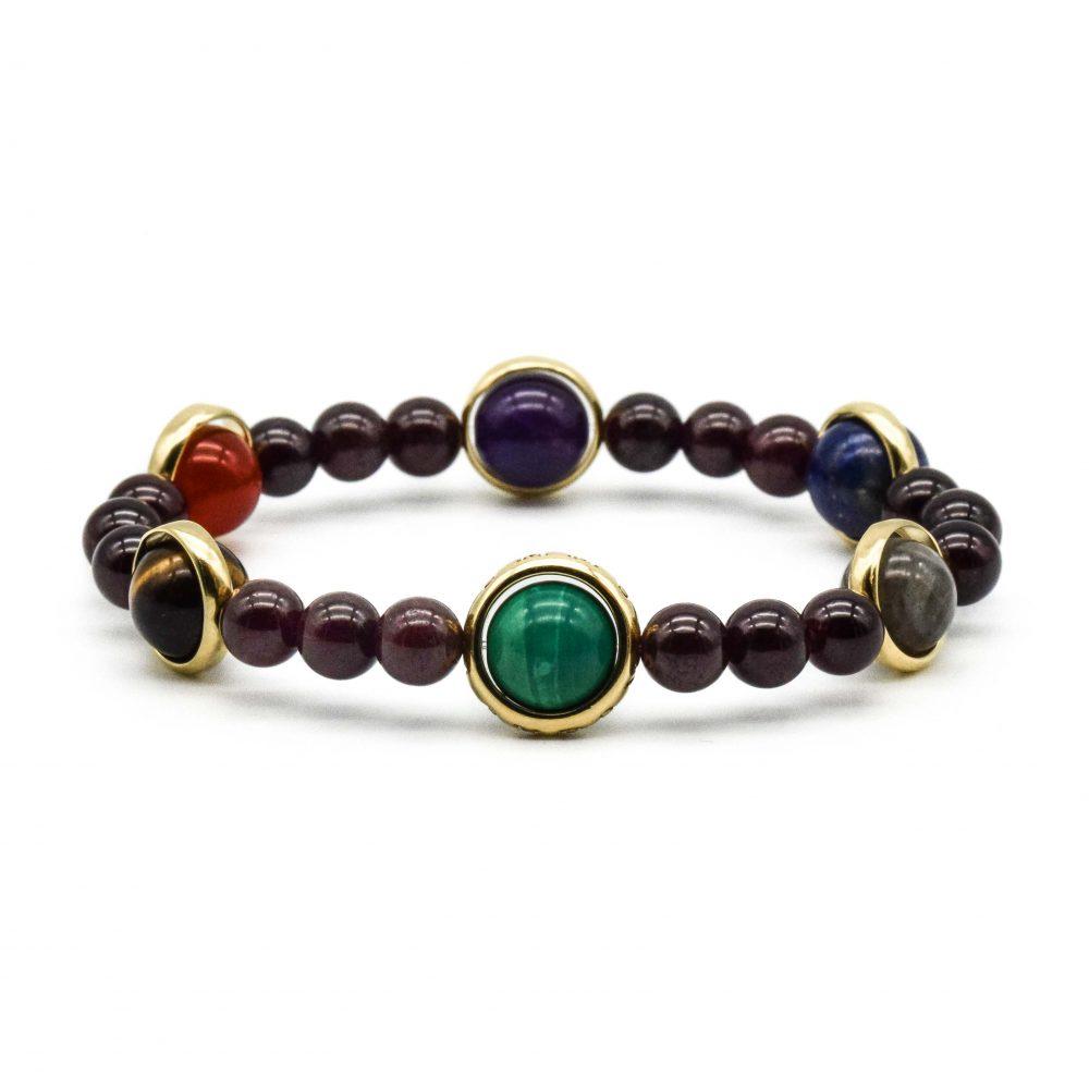 garnet chakra bracelet, chakra bracelet, luxury chakra, designer chakra bracelet, chakra bracelet gold, garnet bracelet, garnet and gold bracelet