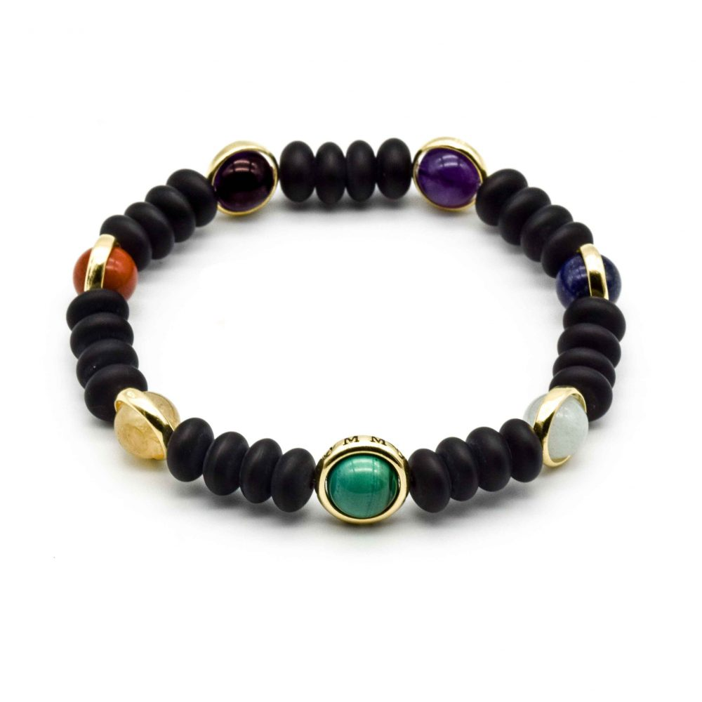 matte black onyx chakra bracelet, luxury chakra bracelet, designer chakra bracelet, healing bracelet, spiritual jewellery, balancing bracelet, malachite bracelet, onyx and gold bracelet, unique bracelet, healing bracelet, luxury jewellery, mens designer bracelets, luxury bracelets, beaded bracelets uk