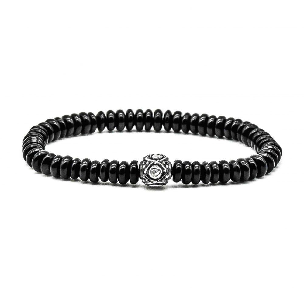 onyx and pave diamond bracelet, onyx luxury bracelet, luxury onyx jewellery. onyx diamond bracelet, black bracelet, mens bracelet, designer mens bracelet