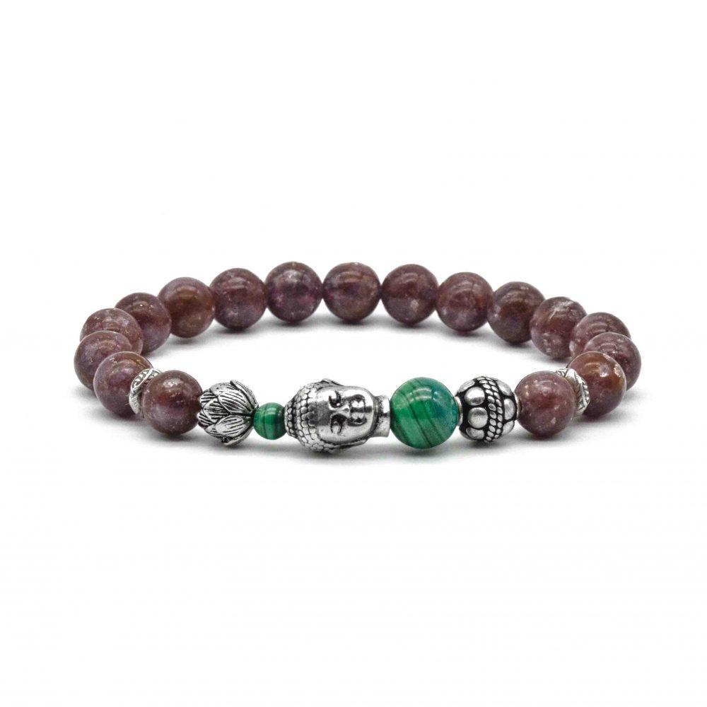 lepidolite bracelet for men, lepidolite bracelet for women, buddha lepidolite bracelet, buddha jewellery, lepidolite jewellery