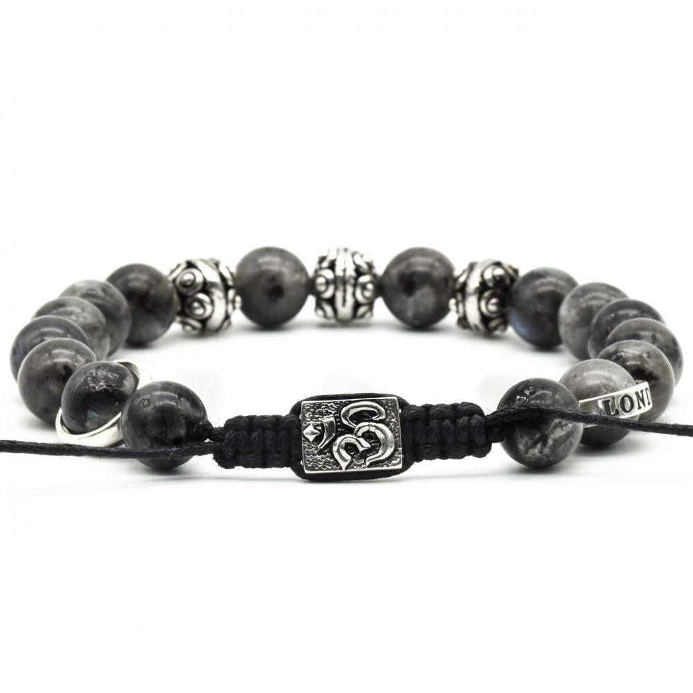 'Om' Bracelet, labradorite bracelet, labradorite and silver bracelet, om jewellery, spiritual jewellery, beaded bracelet uk