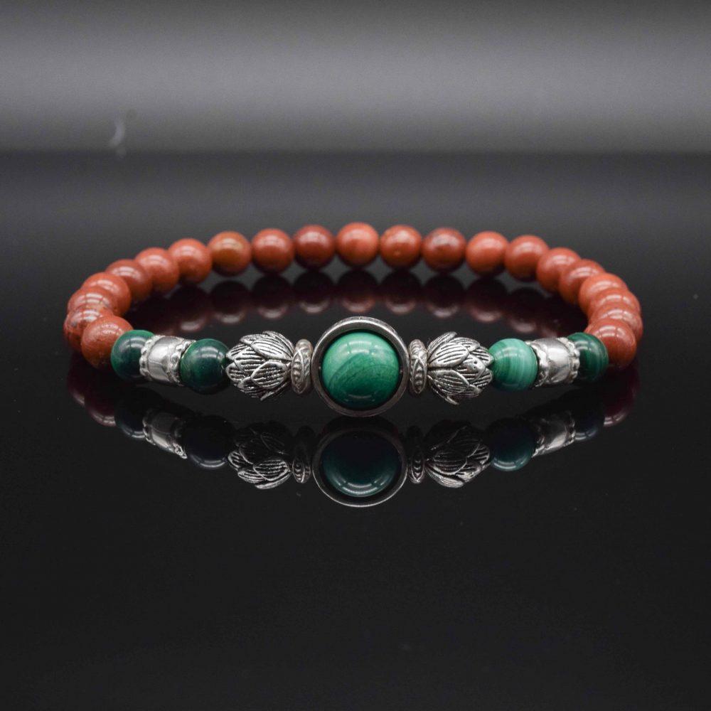 red jasper lotus bracelet, buddha bracelet