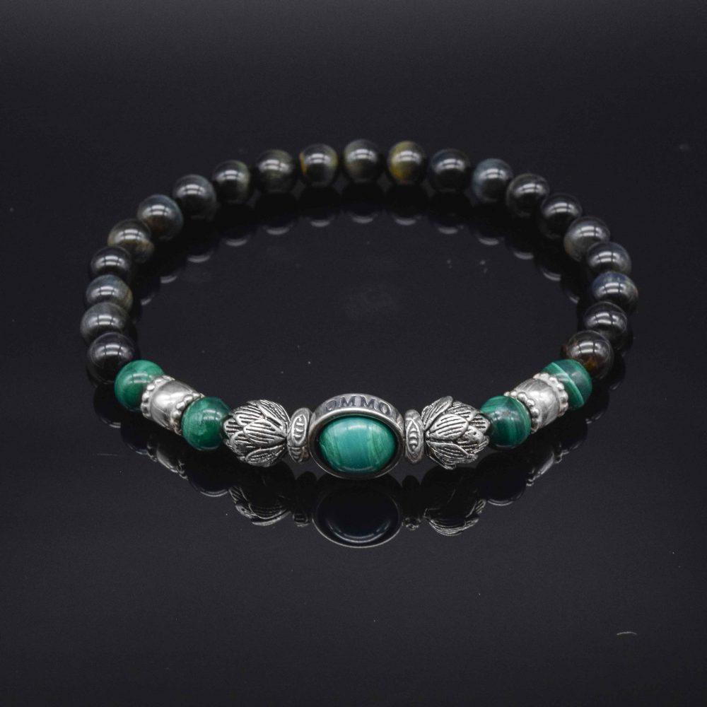 obsidian bracelet, obsidian lotus bracelet, lotus silver bracelet, obsidian beaded bracelet, malachite bracelet, buddha bracelet, buddhist bracelet, hindu bracelet, spiritual bracelets, buddha bracelets for men