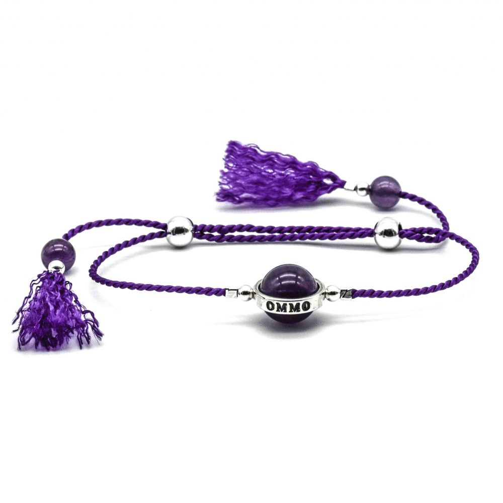Lucky stone bracelet for ladies, wrap bracelet, 925 silver bracelet, tassel bracelet, lucky bracelet, healing bracelet, gift for her, boho bracelet, bohemian bracelet, amethyst bracelet, purple bracelet