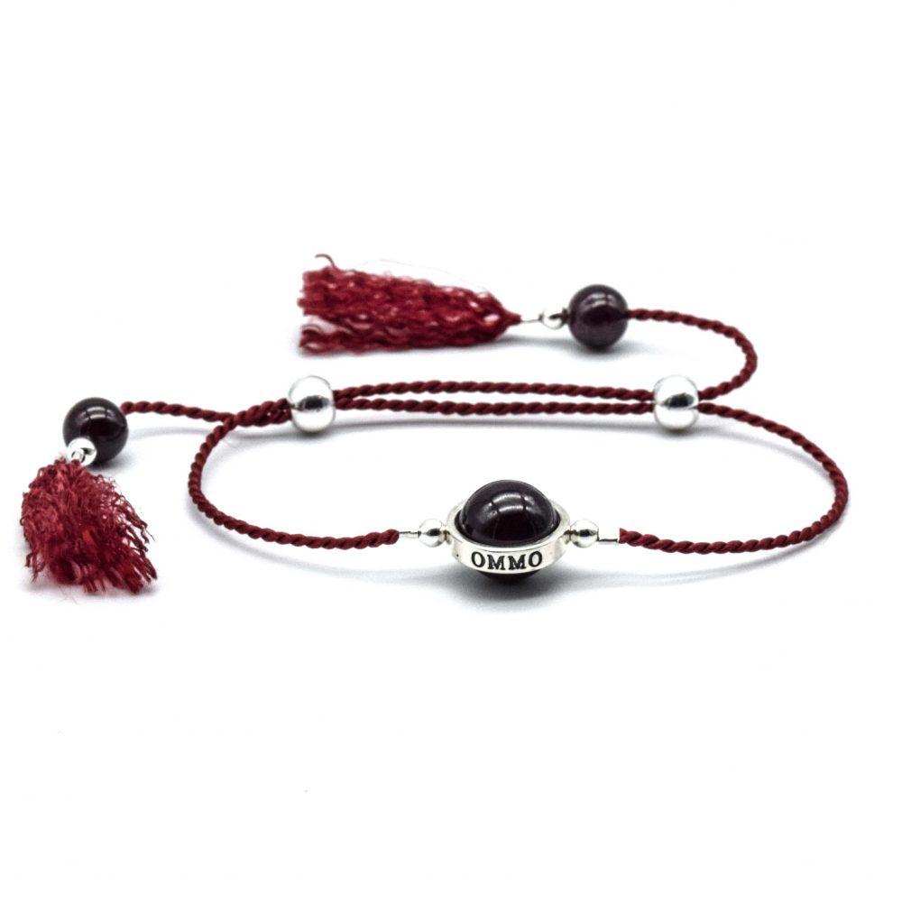 Lucky stone bracelet for ladies, wrap bracelet, 925 silver bracelet, tassel bracelet, lucky bracelet, healing bracelet, red cord bracelet, garnet bracelet, gift for her