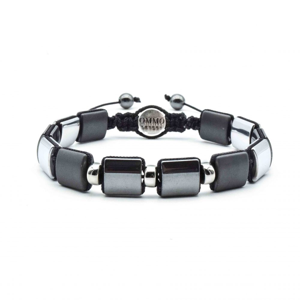 Hematite Shamballa Bracelet, square bead bracelet, flat bead bracelet, hematitie and silver bracelet, designer bracelet, mens designer bracelet
