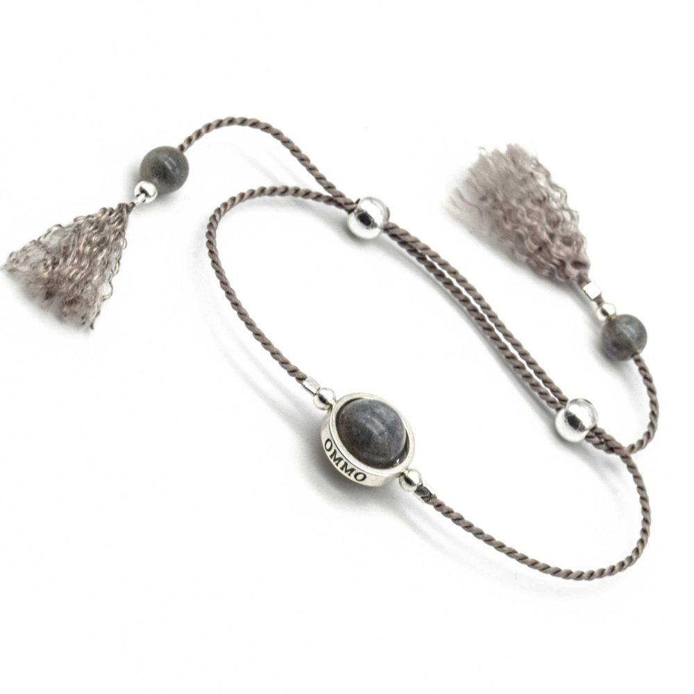 Lucky stone bracelet for ladies, wrap bracelet, 925 silver bracelet, tassel bracelet, lucky bracelet, healing bracelet, gift for her, boho bracelet, bohemian bracelet, rose quartz bracelet, grey bracelet OMMO London