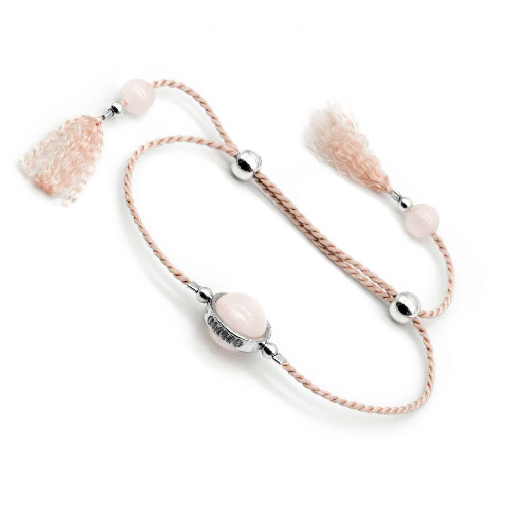 Lucky stone bracelet for ladies, wrap bracelet, 925 silver bracelet, tassel bracelet, lucky bracelet, healing bracelet, gift for her, boho bracelet, bohemian bracelet, rose quartz bracelet, pink bracelet OMMO London