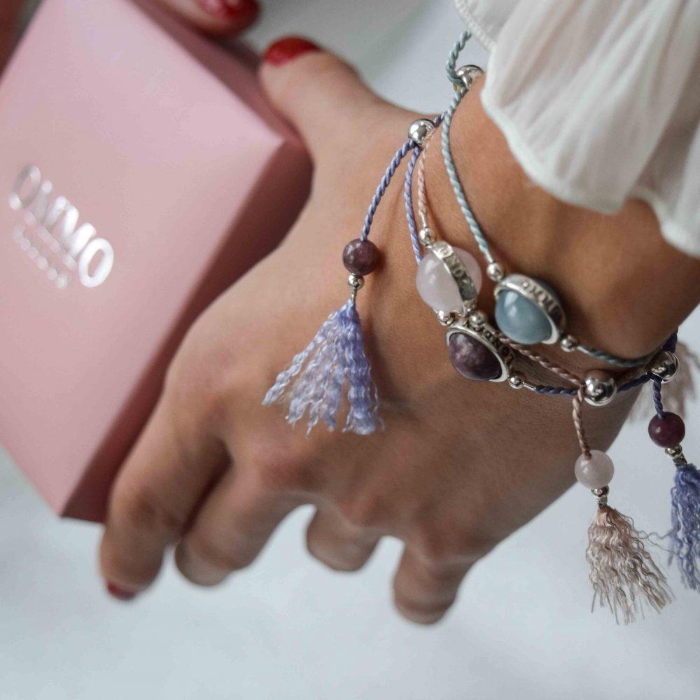 Lucky stone bracelet for ladies, wrap bracelet, 925 silver bracelet, tassel bracelet, lucky bracelet, healing bracelet, gift for her, boho bracelet, bohemian bracelet, rose quartz bracelet, bracelet collection OMMO London