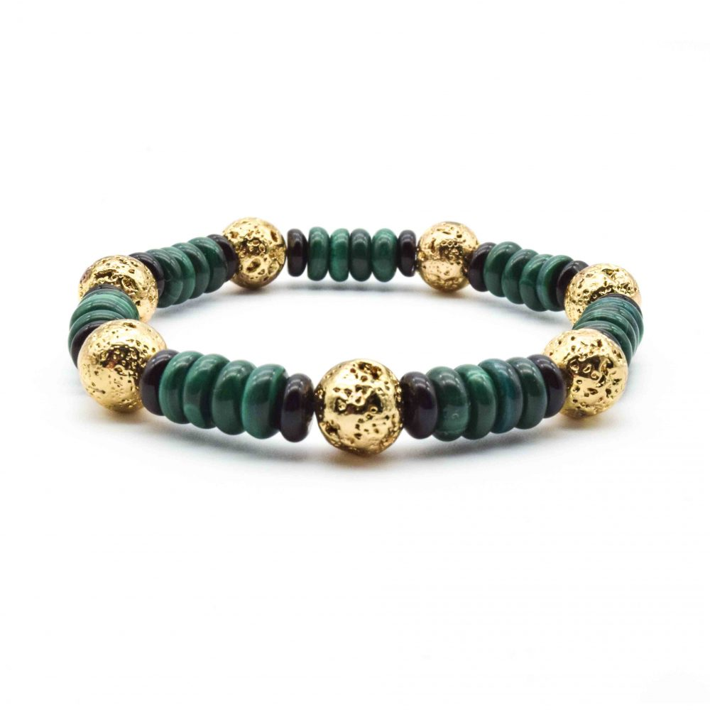 Gold Lava and Malachite Bracelet, malachite bracelet, gold bracelet, mens bracelet, designer bracelet for men, designer bracelet for women, malachite jewellery, green bracelet, designer bracelet