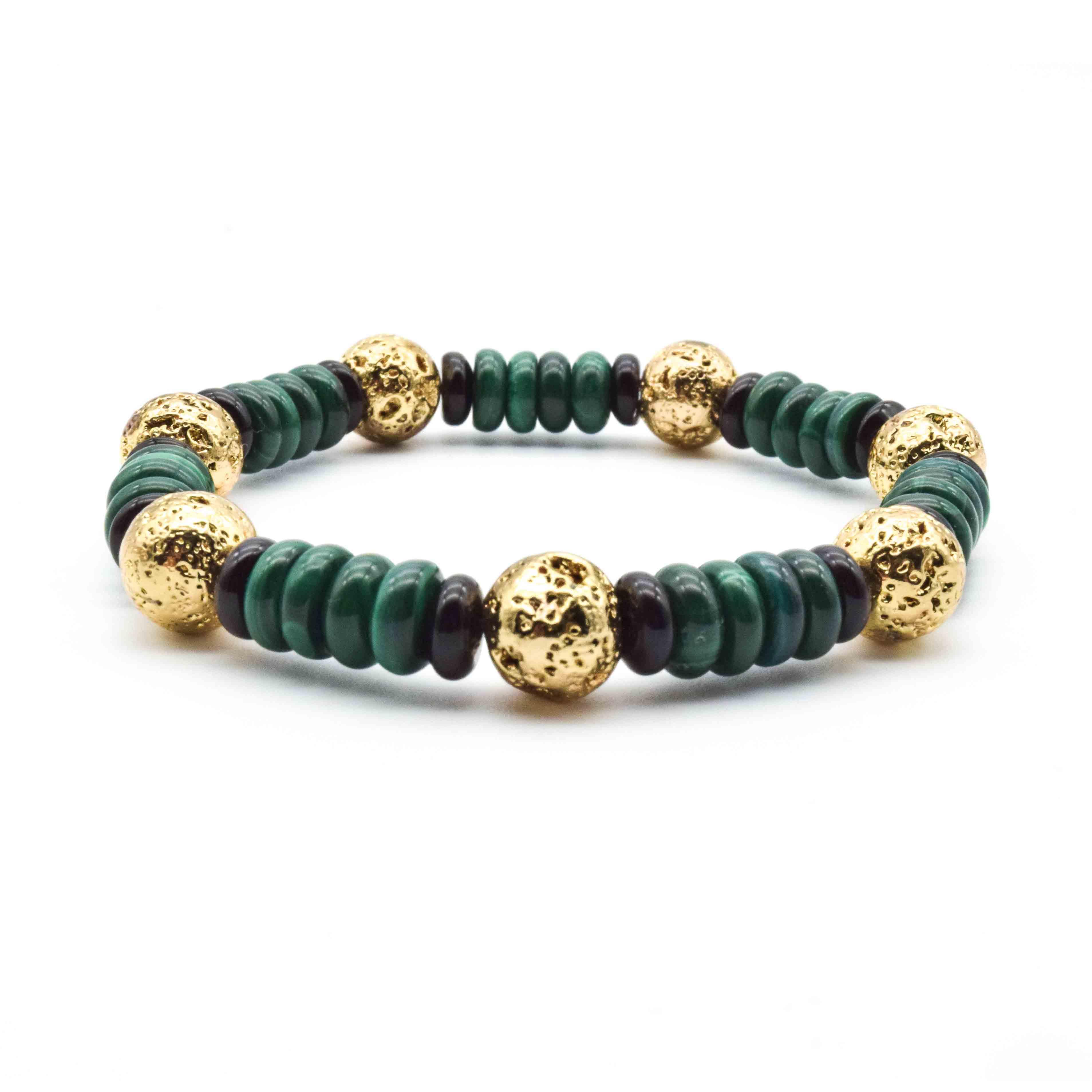9313ca19c62 Gold Lava and Malachite Bracelet, malachite bracelet, gold bracelet, mens  bracelet, designer