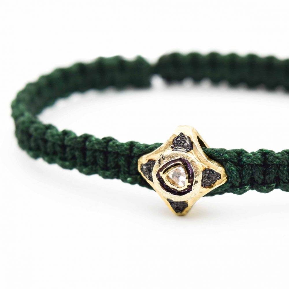 diamond bracelet, green bracelet, emerald bracelet, pave diamond bracelet, macrame bracelet, designer bracelet for men, luxury bracelet, unique bracelet