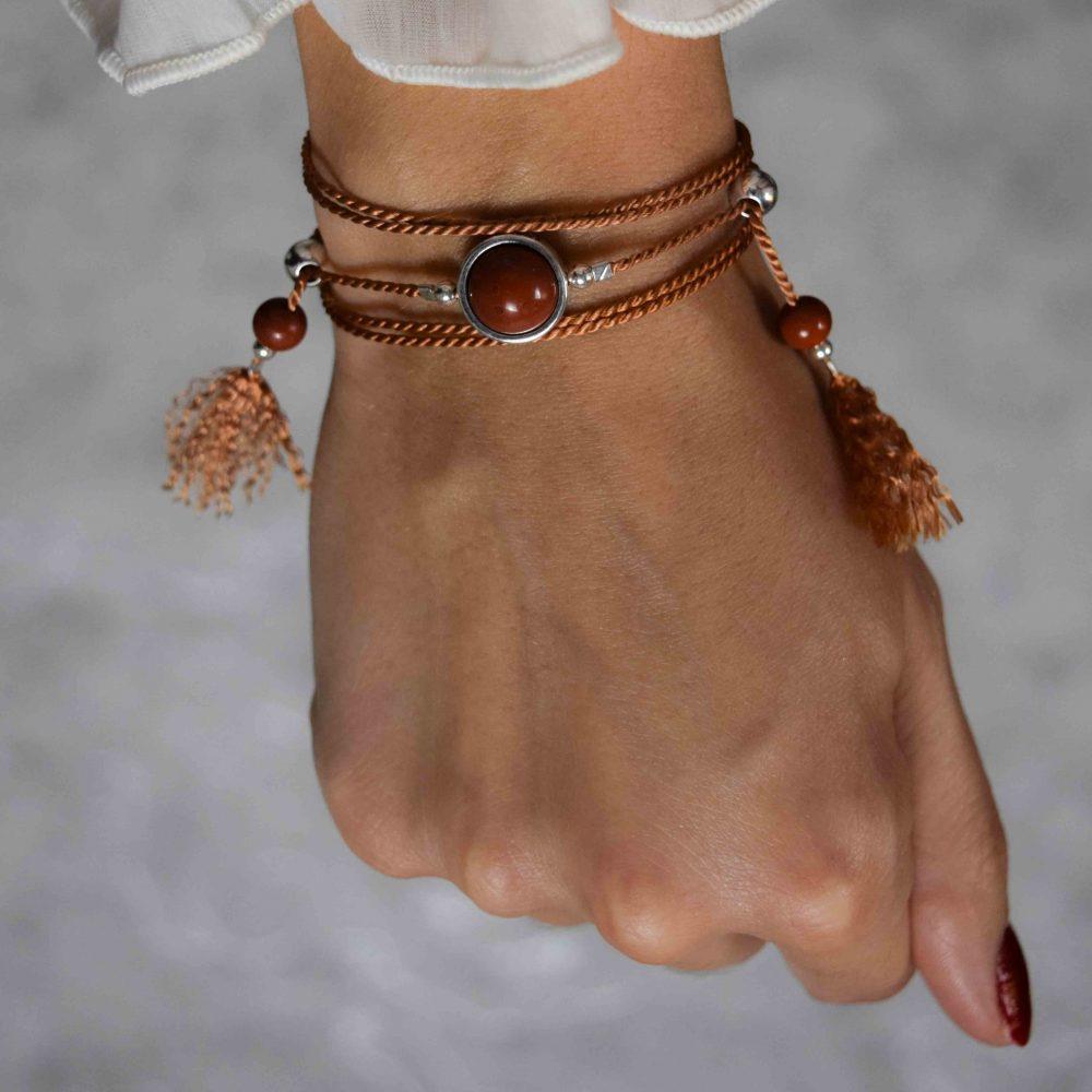 Lucky stone bracelet for ladies, wrap bracelet, 925 silver bracelet, tassel bracelet, lucky bracelet, healing bracelet, gift for her, boho bracelet, bohemian bracelet, Rhodonite bracelet, rohodonite bracelet, pink bracelet