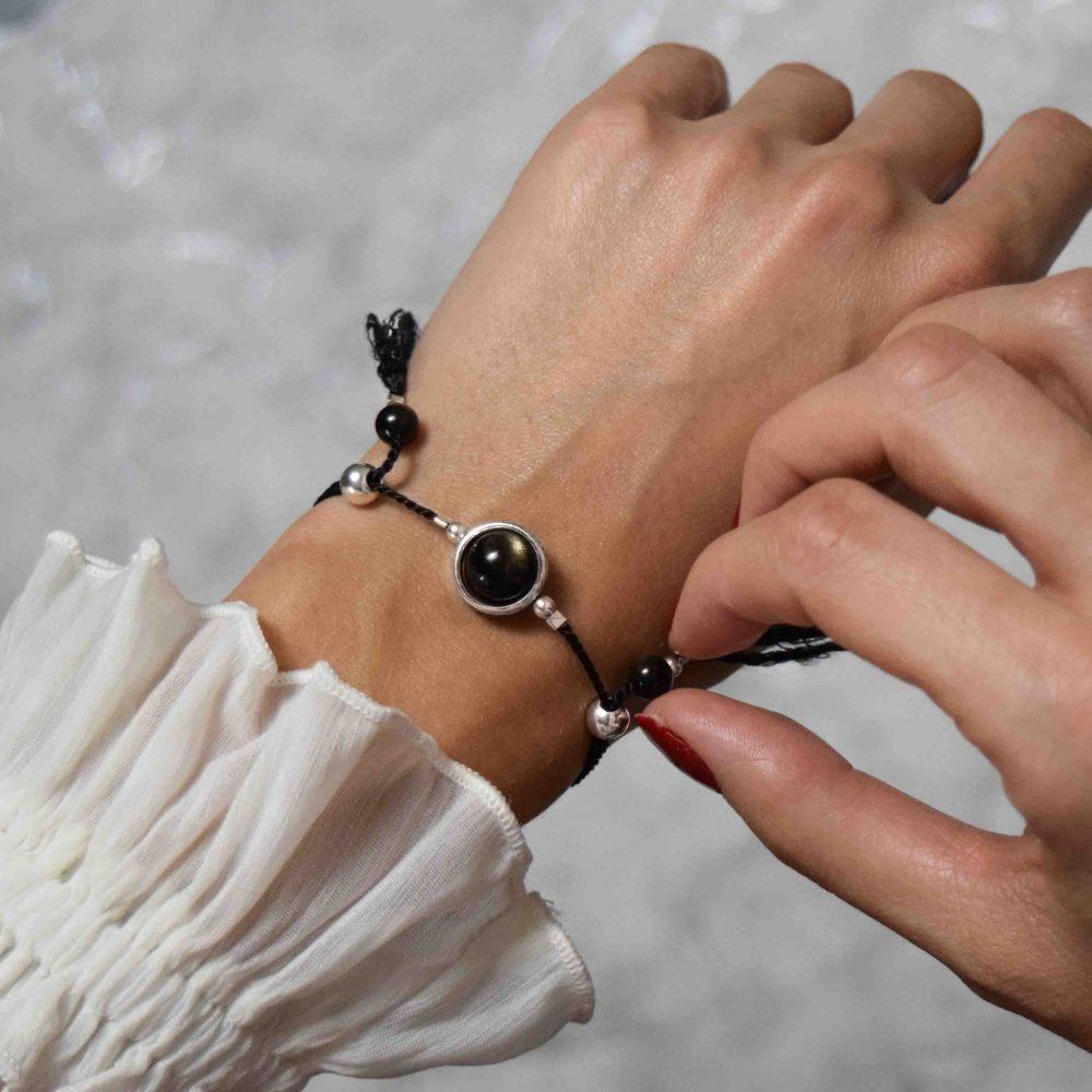 Lucky stone bracelet for ladies, wrap bracelet, 925 silver bracelet, tassel bracelet, lucky bracelet, healing bracelet, Brown bracelet, obsidian bracelet, gift for her