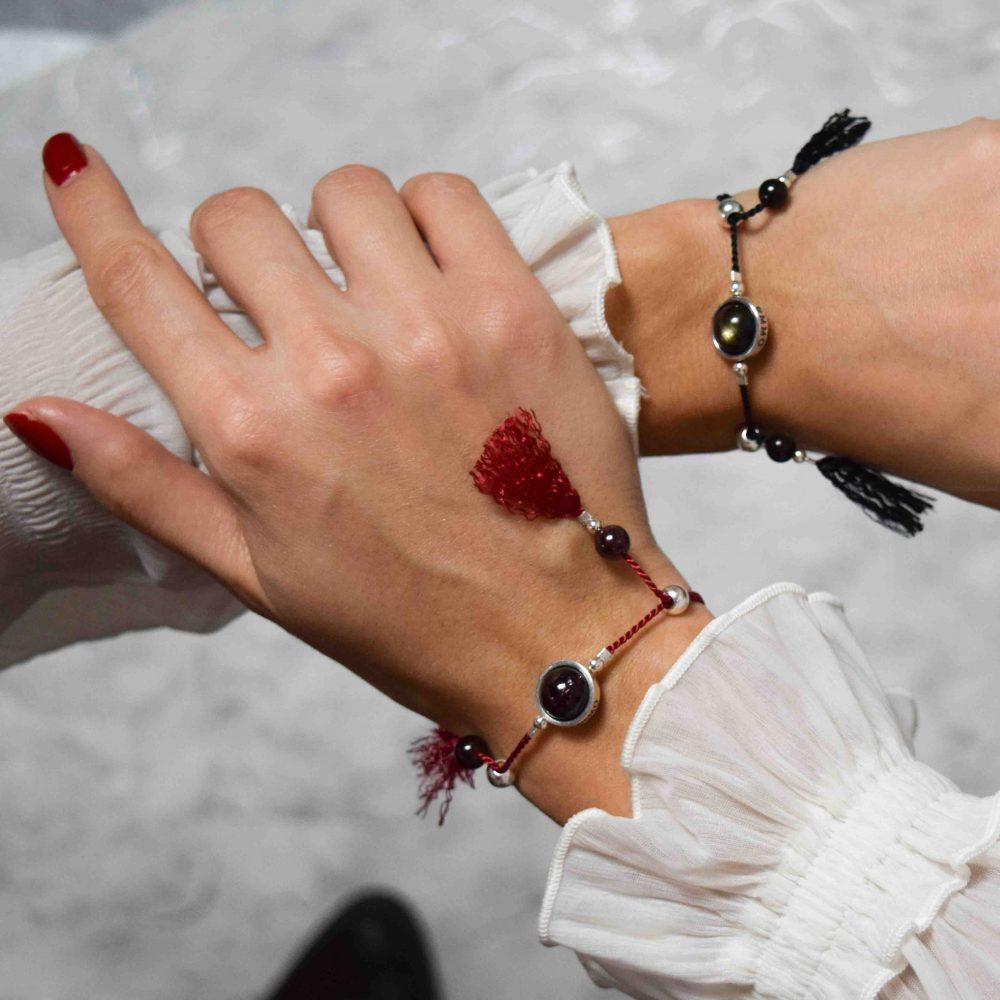 Lucky stone bracelet for ladies, wrap bracelet, 925 silver bracelet, tassel bracelet, lucky bracelet, healing bracelet, red cord bracelet, garnet bracelet, gift for her, boho bracelet