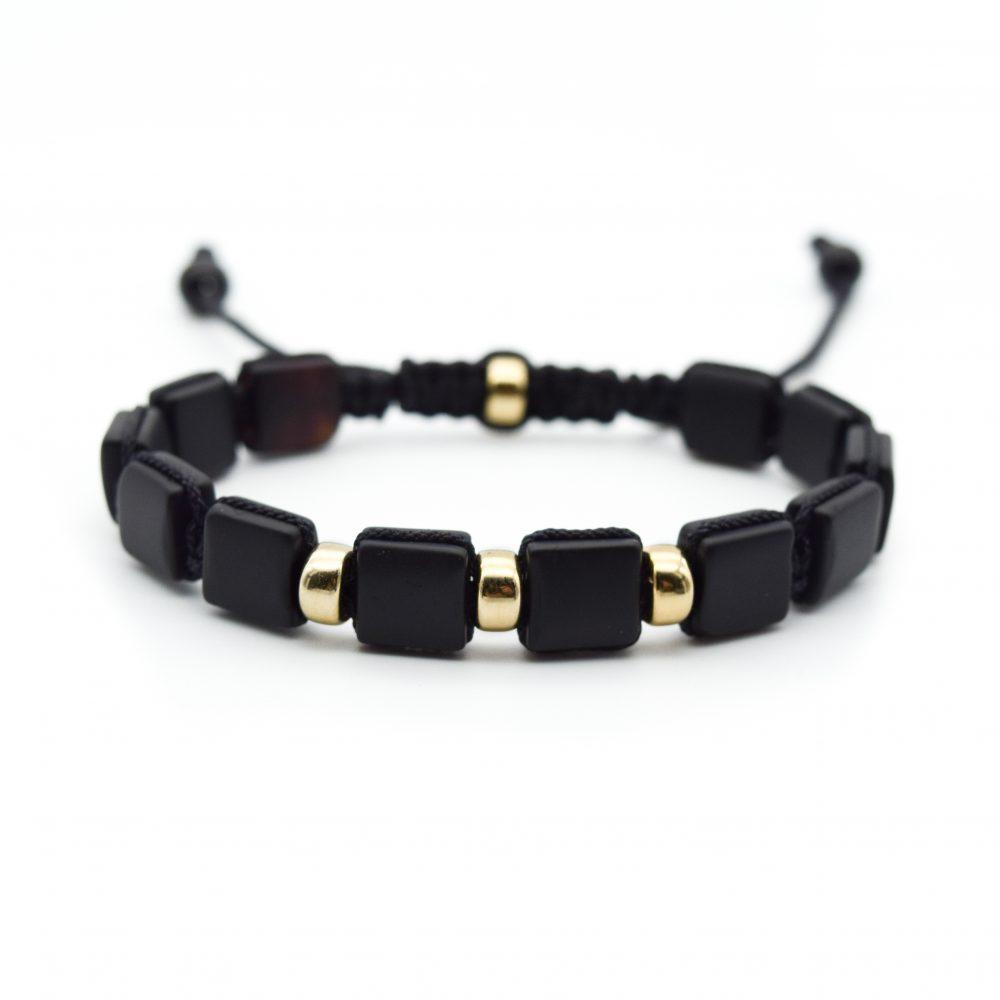 square bead bracelet, flat bead bracelet, macrame square bracelet, black bracelet, agate bracelet, bracelet with gold, macrame bracelet with gold