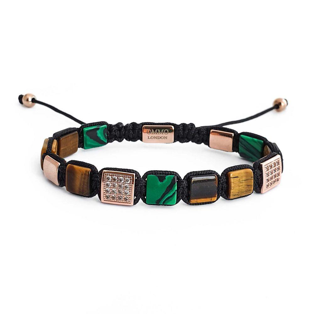 mens tiger eye shamballa bracelet OMMO London | UK
