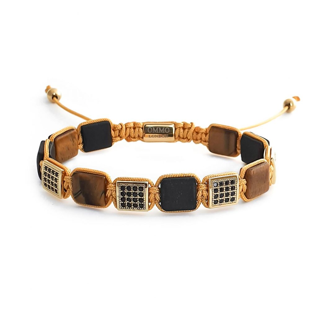 mens tiger eye shamballa bracelet OMMO London | UKdesigner mens bracelet shamballa