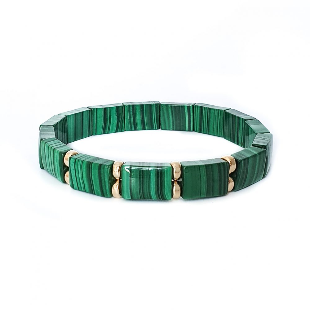 Malachite Rectangular Bracelet for Men, malachite bracelet, malachite and gold bracelet, gemstone bracelet, heart chakra bracelet, spiritual bracelet, designer bracelet for men, mens designer bracelets, Malachite Flat Bead Bracelet for Women