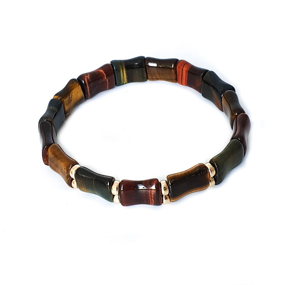 Tiger's eye Rectangular Bracelet for Men, 9ct gold bracelet, flat bead bracelet, mens designer bracelets, luxury jewellery. beaded bracelet, tiger's eye bracelet, luxury bracelet, bracelet with gold, Tiger's eye Rectangular Bracelet for women