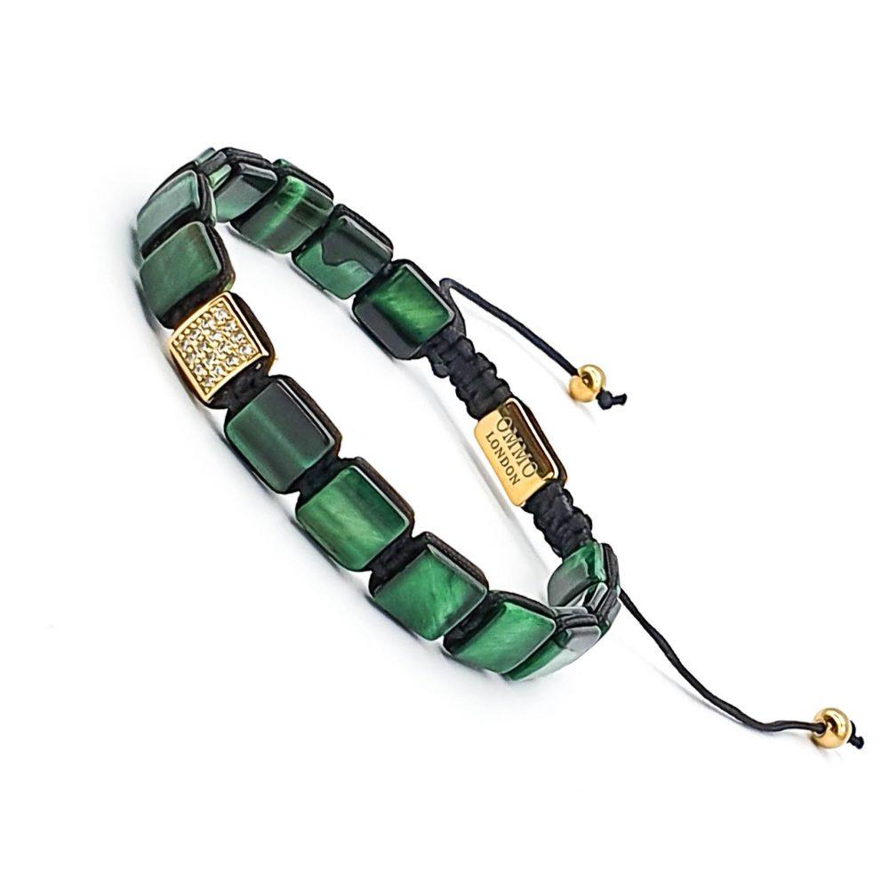 Green Tiger's Eye Shamballa Bracelet, flat bead bracelet, macrame bracelet, green tigers eye bracelet, mens designer bracelet, shamballa jewellery, ommo london