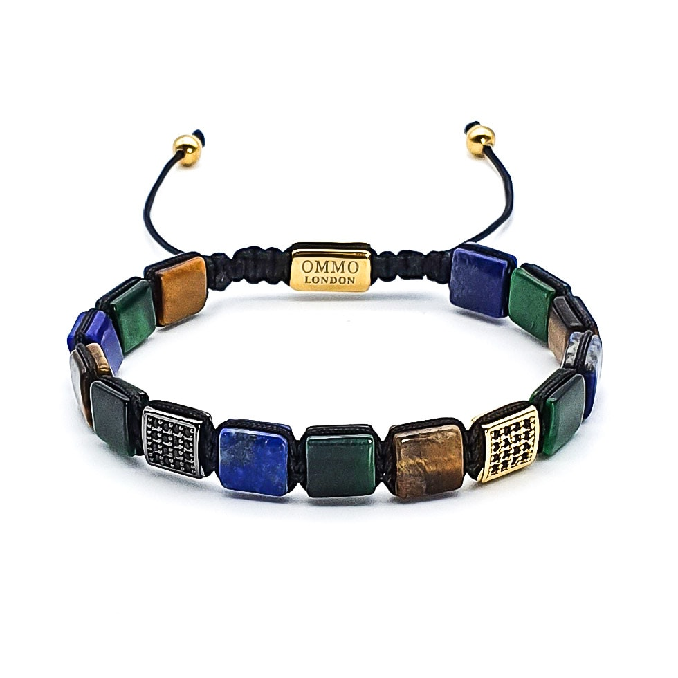 shamballa bracelet, tigers eye bracelet, lapis lazuli bracelet, macrame bracelet, square bead bracelet, luxury designer bracelet for men