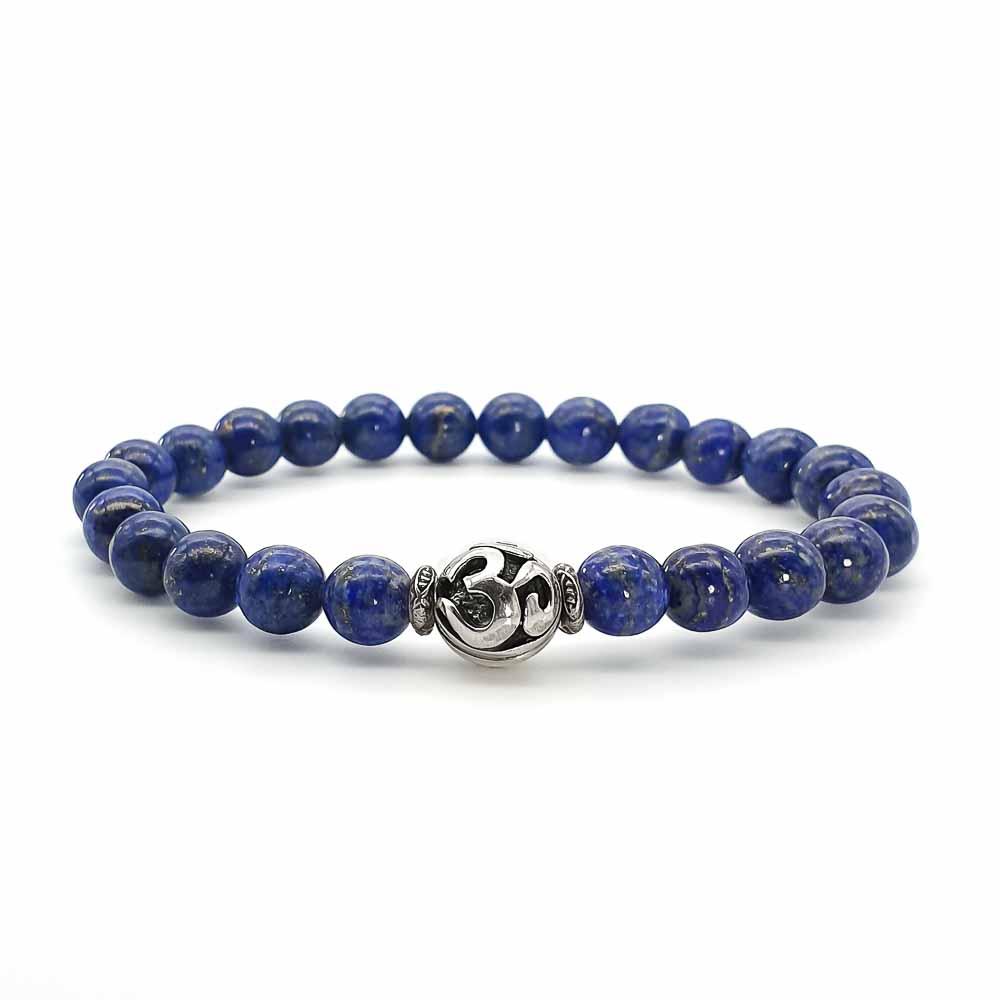 lapis lazuli om bracelet, healing bracelet, spiritual bracelet, 925 silver bracelet, buddhist bracelet, blue bracelet
