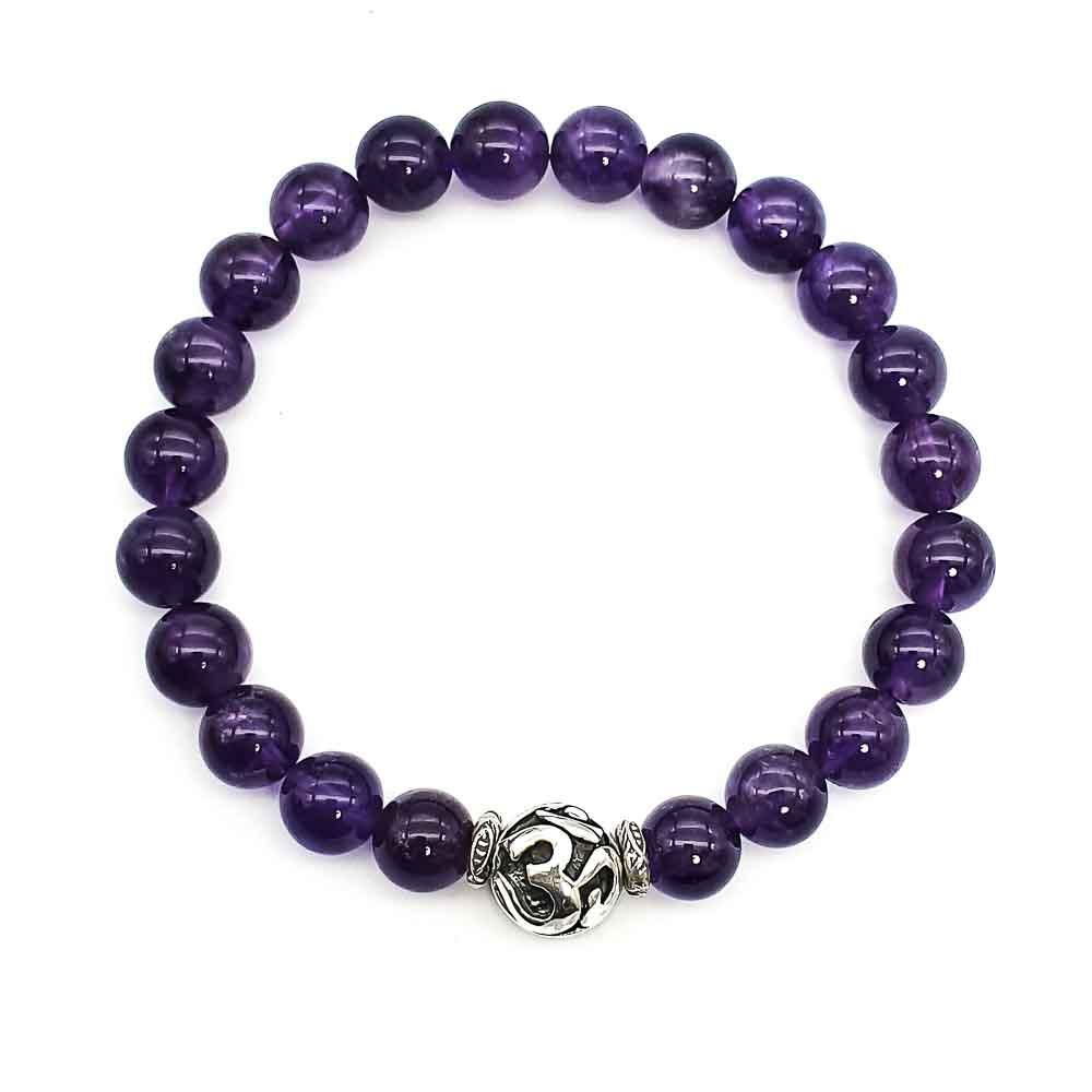 amethyst om bracelet, healing bracelet, spiritual bracelet, 925 silver bracelet, buddhist bracelet, purple bracelet