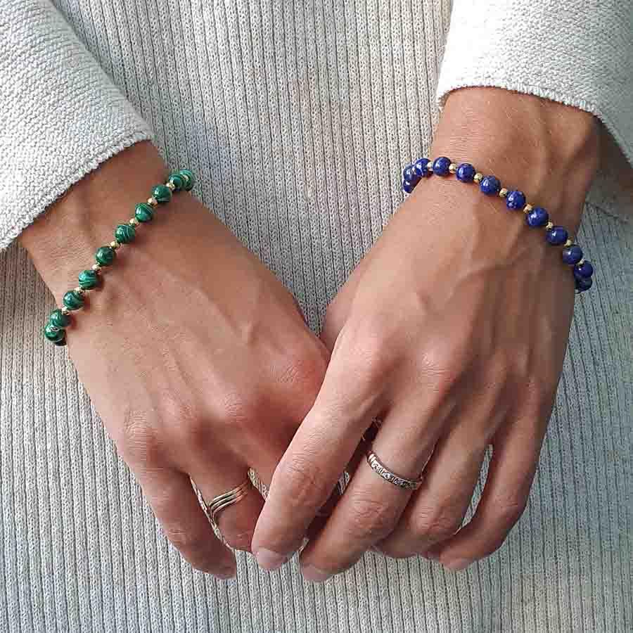Malachite and Gold Bracelet, malachite jewellery, natural malachite bracelet, malachite bracelet uk, green bracelet, healing bracelet, crystal bracelet, heart chakra bracelet, lapis lazuli bracelet, blue bracelet, healing jewellery