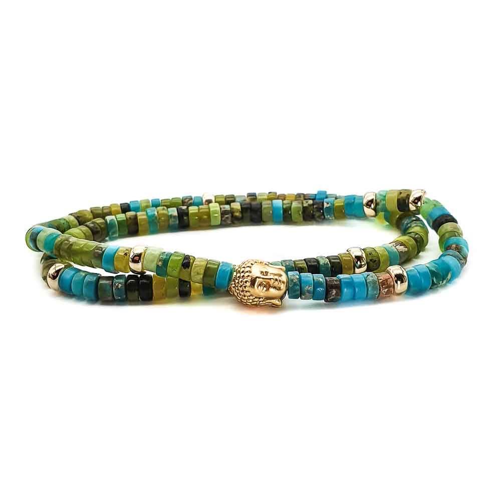 Heishi and Gold Buddha Bracelet, heishi bracelet, buddha jewellery, spiritual bracelet, crystal healing
