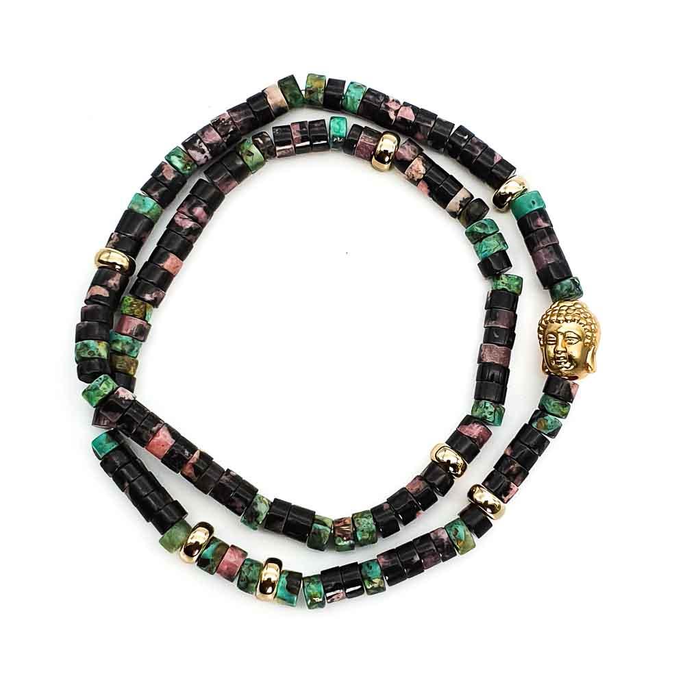Double Wrap Buddha Bracelet, 9ct gold buddha bracelet, heishi bracelet, double wrap heishi bracelet, buddha heishi bracelet, rhodonite bracelet, african turquoise bracelet, spiritual bracelet, healing bracelet