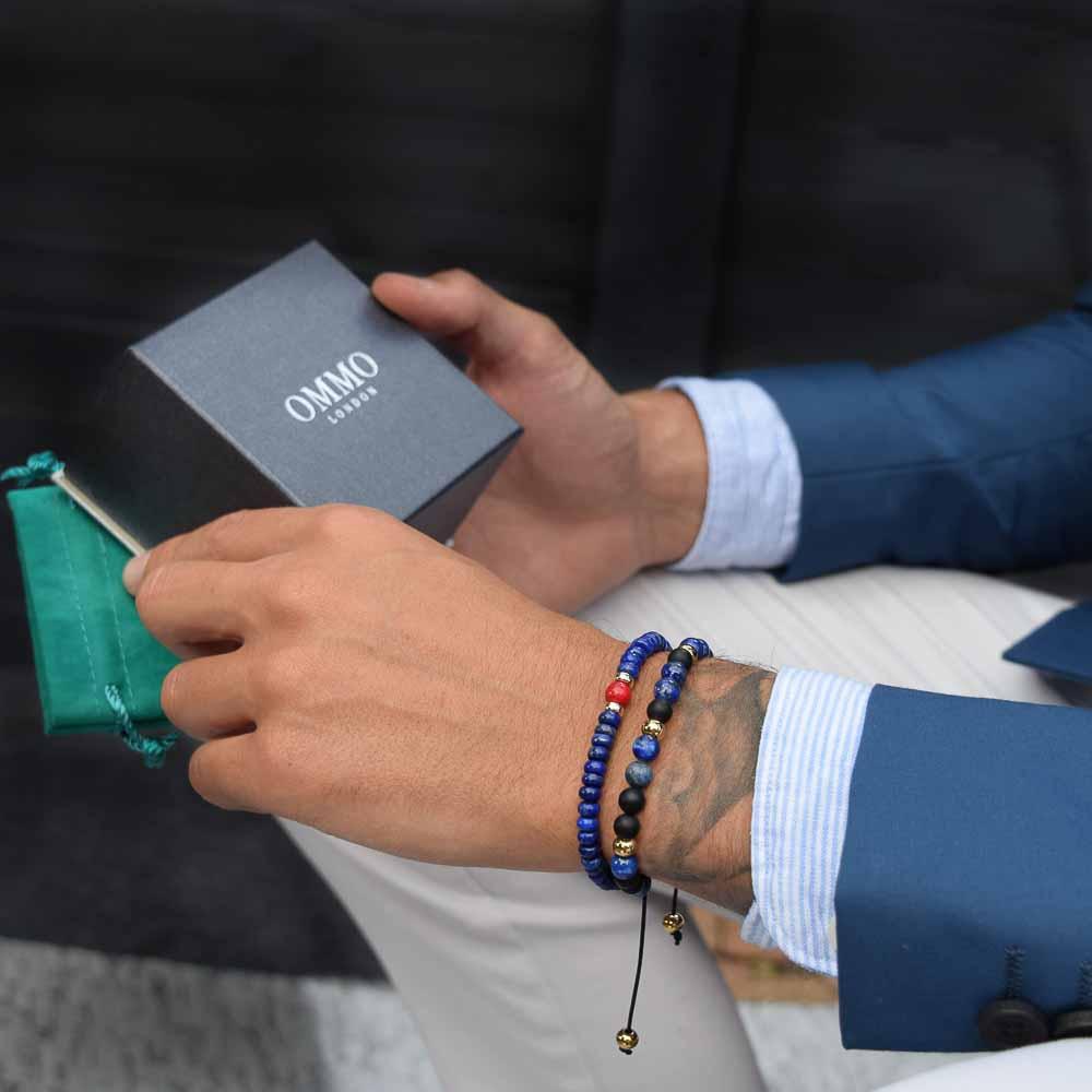 luxury beaded bracelet for men | OMMO London | UK-0864