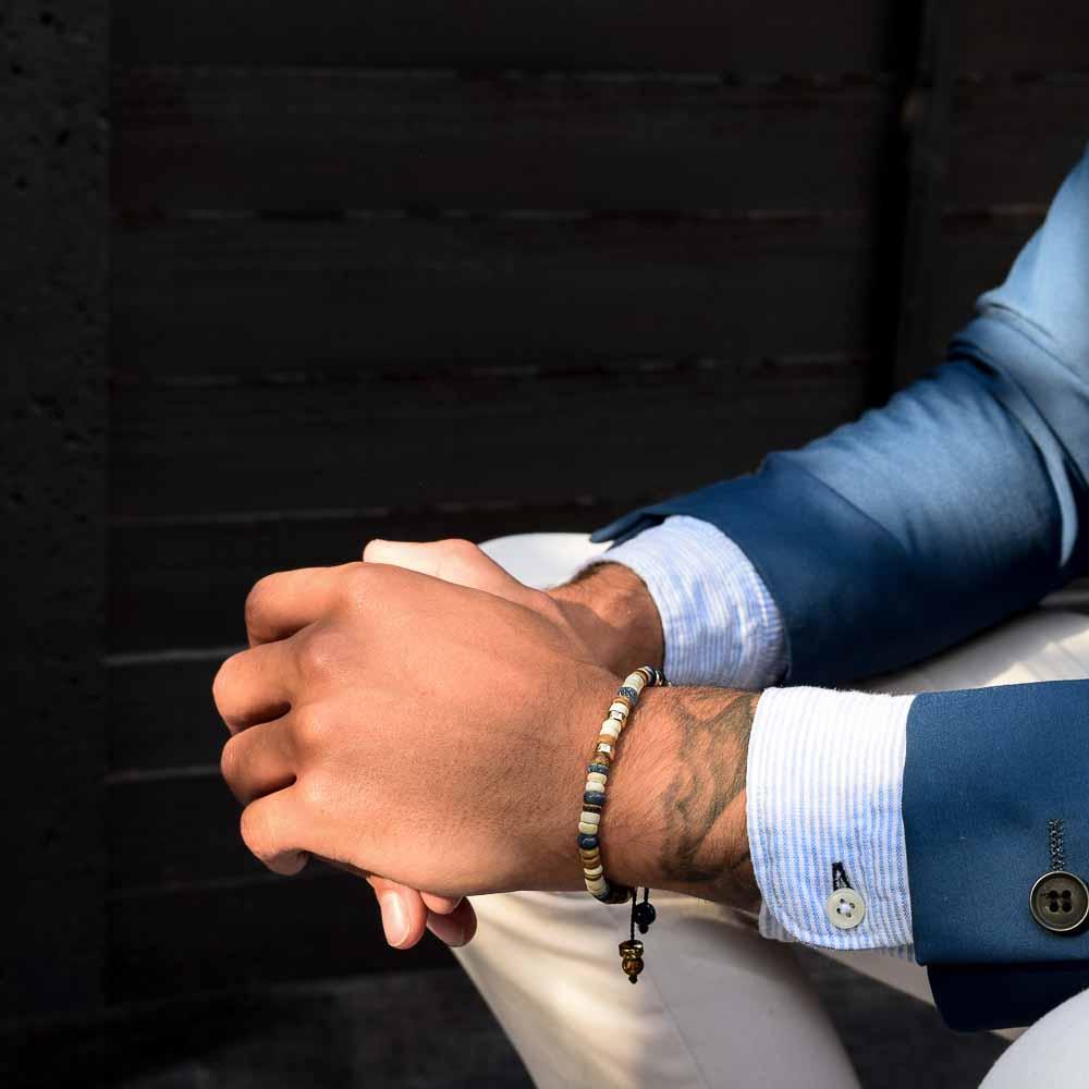 Heishi Coconut and Kyanite Bracelet, heishi bracelet, kyanite bracelet, designer bracelet for men, beaded gold bracelet, coconut bracelet, shamballa bracelet, beaded bracelet