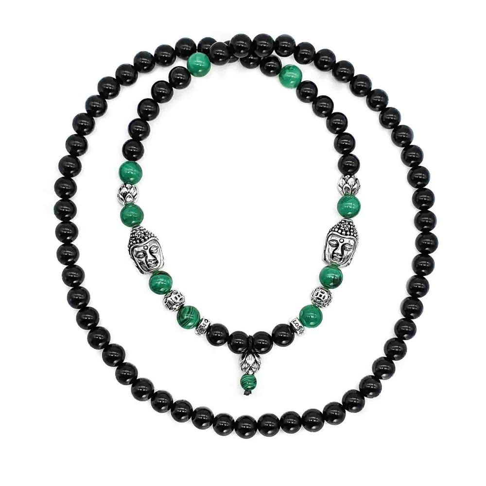 Malachite and Onyx Buddha Beaded Necklace, black onyx buddha bracelet, 925 Sterling silver buddha bracelet, malachite buddha bracelet, silver lotus bracelet, spiritual jewellery, lotus bracelet, buddha bracelet necklace set, mens or womens bracelet uk, buddha necklace, buddha onyx neckalce, malachite buddha necklace