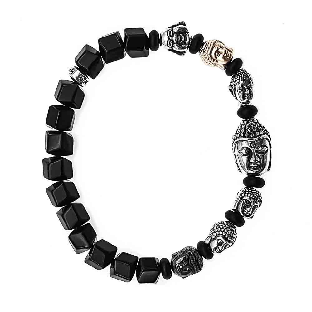 7 buddha bracelet, mixed buddha bracelet, onyx bracelet, black bracelet with buddhas, spiritual bracelet, buddhist bracelet, prayer bracelet, healing bracelet, crystal bracelet, 925 sterling silver bracelet with buddha