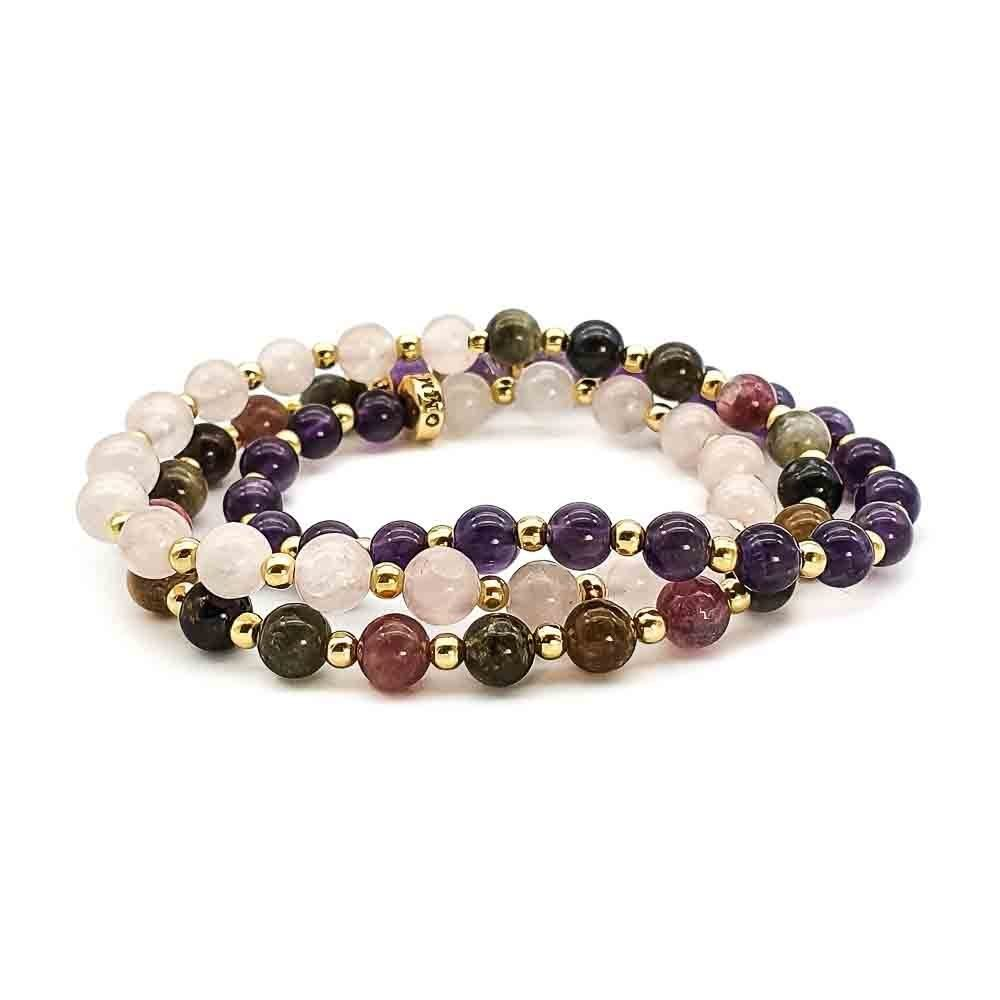 triple wrap bracelet, rose quartz and gold bracelet, amethyst and gold bracelet, tourmaline and gold bracelet, necklace with gold for women