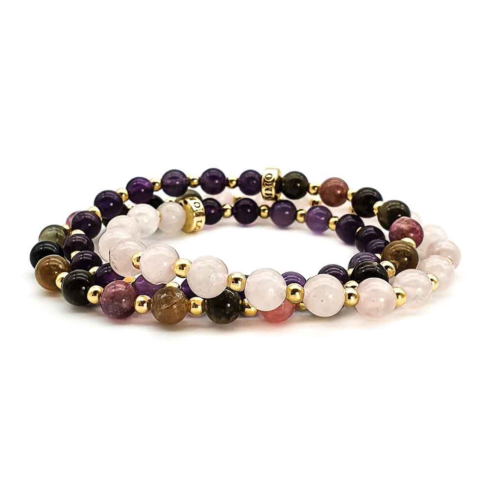 triple wrap bracelet, rose quartz and gold bracelet, amethyst and gold bracelet, tourmaline and gold bracelet, necklace with gold for women